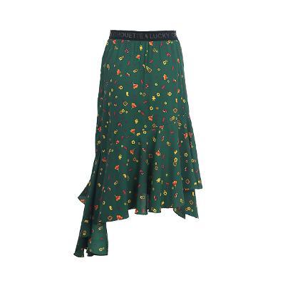unbalance hem line floral skirt green